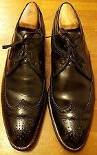 Vintage, Stacy Adams, Black, Leather/Patent Leather, Wing Tips (Sz 10.5 D)