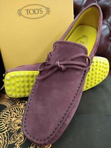 Tod's Men's Purple/Yellow LACCETTO Suede Moccasins Loafers (5.5UK / 6.5US)