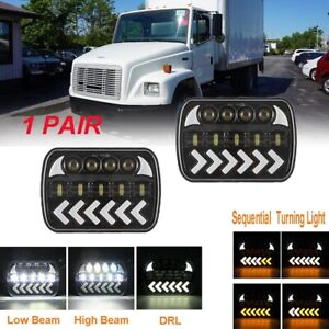 2XFor Freightliner FL50 60 7x6'' LED Headlight Sequential Turn Sealed Beam Amber