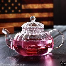 600ml Clear Glass Tea Maker TEA POT Pumpkin Shaped Glass Teapot with Infuser/Lid