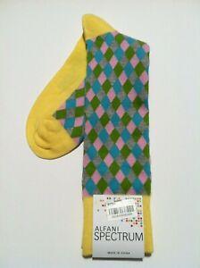 ALFANI MENS NEW YELLOW NYLON BLEND DRESS SOCKS FIT SHOE SIZE: 7-12