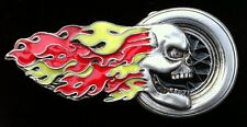 Boucle De Ceinture Hell Fire Skull Wheel Skeleton Evil Satan Belt Buckle
