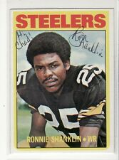 RONNIE SHANKLIN PITTSBURGH STEELERS PERSONALIZED 1972 TOPPS 37 AUTOGRAPHED CARD