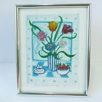 RARE Rachel Isaac Limited Edition 1/1 Watercolor Etching Strawberries & Tulips