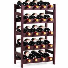 20 Bottle Wood Wine Rack 5-Tier Bottle Display Storage Shelf Free Standing New