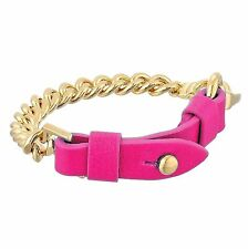 NWT Marc By Marc Jacobs Gold Chain Leather Bracelet Knock Out Pink +Gift Bag $98