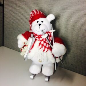 Holiday/Christmas Tall Ski and Sled Bear With His Own Skis, Scarf Decoration EUC