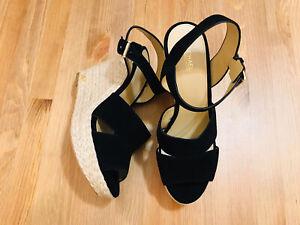 Michael Kors Wedge Espadrille black suede ankle strap sandal shoes NWOB size 8.5