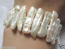 white freshwater Biwa pearl bracelet 7.5 inches