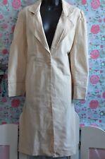 NEW LOOK UK Size 12 Ladies Beige Linen Blend Trenchcoat Rain Mac