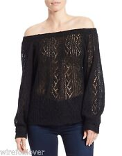 NWT Free People Lights Will Shine Pullover Sweater Acrylic Wool  Black  M $128