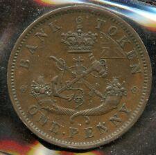 1857 Bank of Upper Canada Penny Token Breton #719; CH PC6D  ICCS AU-50