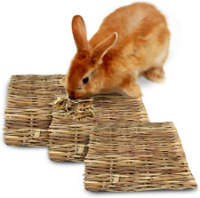 SunGrow Seagrass Rabbit Mat, 11x8 Inches, Protect Paws from Wire Cage, Handmade,