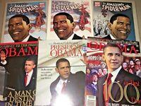 Super Lot of 6 Barack Obama Collectors Publications with Spider-Man Variants