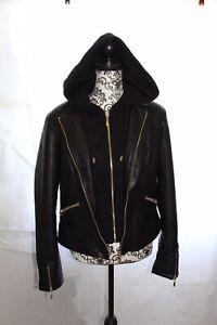 GUESS Women's Faux Leather Hooded Moto Jacket Sz. XL