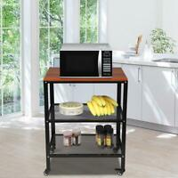 Baker's Rack 3-Tier Kitchen Utility Microwave Oven Stand Storage Cart w/Wheels