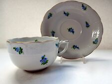 Herend Cup Saucer Flat Forget Me Not Flowers MYA Basket Weave Rocaille Form