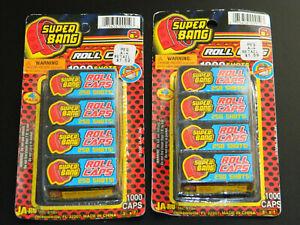 2x Vintage JA-RU #910 SUPER BANG 1000 CAPS 4 ROLLS 250 Per Roll NIP 2000 8 rolls