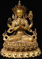 "13"" Rare Old Tibet Buddhism Bronze Gilt 4 Arm Chenrezig Kwan-Yin Buddha Statue"