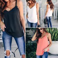 Womens Ladies Sleeveless Vest Tank Tops Summer Beach Blouse Loose T Shirt