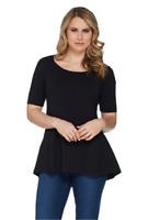 Isaac Mizrahi Scoop Neck Elbow Slv Peplum Knit Top Black 3X NEW A301450