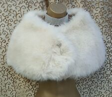 KAREN MILLEN Ivory Faux Fur Brioche Detail Shrug Stole Over Dress Size 1 UK 6-8