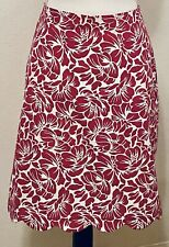 Talbots A-line Skirt Scallop HemCotton Magenta and White Floral Pattern Size 16