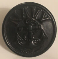 Rare Black Rubber Naval Civil War Button w/ Anchor & word Navy Makers Mark HBW??