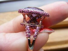 14k Rose Pink Gold Checkerboard Cut Oval Amethyst Pave Diamond Ruby Halo Ring XO