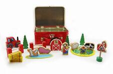 Kaper Kidz Wooden Children's Farm Toy Play & Pretend Set 20pcs in Tin Case