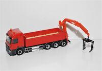 1:87 EM3363 Herpa MB Actros 4achs Baustoff LKW rot mit Ladekran Umbau Eigenbau