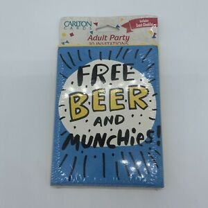 New Vtg. Carlton Cards Adult Party Invitations Free Beer And Munchies Blue