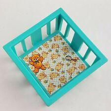 Vintage Fisher Price Little People Blue Baby Playpen Bed Crib Nursery #761 1972
