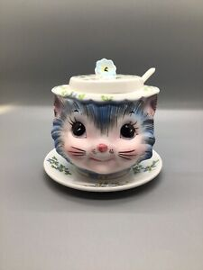 Vintage Lefton Japan Miss Priss Plated Jam Jar With Lid And Spoon