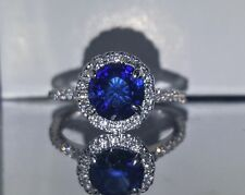 14K WHITE  GOLD  RING 2.75CT. NATURAL SAPPHIRE ROUND SHAPE