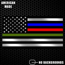 Thin Blue Line Police Firefighter Military Flag Decal Sticker American USA Pride