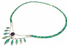 Deco Floral Opal Necklace Mexico Taxco Mexican 950 Sterling Silver