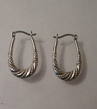Sterling Silver 925 Oval Creole Sleeper Hoop Pattern Earrings Drop 2.5cm G5889