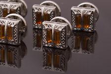 Singolo Stud-Colore Argento openwork metal, decorato con ambra