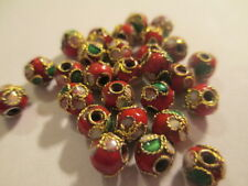 100  ~~ Round Red Gold Trimmed Cloisonne Beads 5.7 mm   CMB