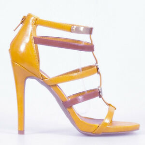 WOMEN SHOES CAGE STRAPPY BACK ZIP UP STILETTO HEEL SANDALS