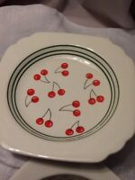 Blue Sky Square Cherry Luncheon Plate White With Green Trim  Salad
