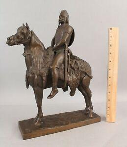 Antique EMMANUEL FREMIET French Bronze Sculpture Celtic Gaul Chief Warrior NR