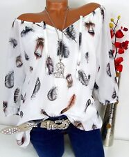 Bluse Carmen Italy Tunika Shirt Poncho Hippie doppellagig Feder Altweiß 44 46