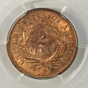 1864 Two Cent Piece, Large Motto, Choice Uncirculated PGCS MS63 RB