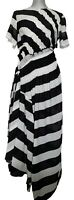 PREEN LINE 'SIDA' BLACK AND WHITE STRIPED ASYMMETRICAL DRESS, L, $750