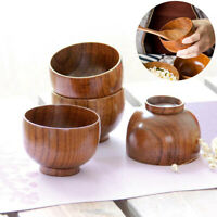 Japanese Styles Wooden Bowl Soup/Salad Rice Bowls Natural Wood Tableware Kitchen