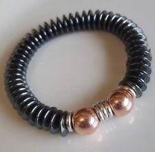 Rose gold & Hematite beads + sterling silver Links Of London rings Bracelet