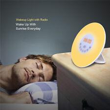 LED Wake Up Light Alarm Clock with Sunrise Simulation with Nature or FM Radio