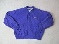 VINTAGE Tommy Hilfiger Jacket Adult Large Purple Crest Full Zip Coat Mens 90s *